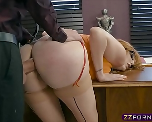 Busty office sweetheart working on her promotion by offering anal