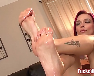 Red head anna bell peaks gives fantastic footjob in drilled feet scene!