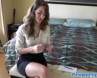 Cocksucking realtor playgirl doggstyled until cum