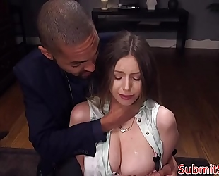 Tied up slavery sub spanked previous to anal fucking