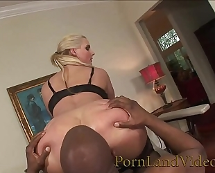 Blonde floozy is an anal serf for large dark knob