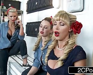 World war ii wives nikki benz, abbey brooks & phoenix marie getting moist