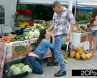 Farmer's lustful white wife eva lovia cheating with a random customer