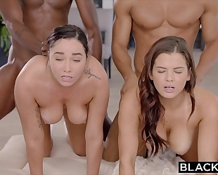 Blacked abella, karlee and keisha stretched out by 2 bbc's