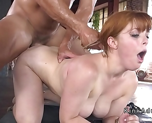 Busty serf anal hooked and screwed