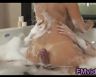 Sexy asa akira plays with rod in the bathtub