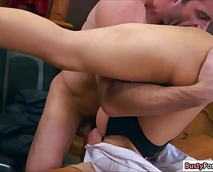 Busty luna star gangbanged in her office