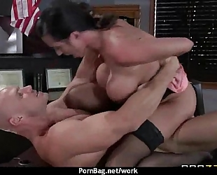 Horny big-tit milf bonks employee's big-dick in the office thirty