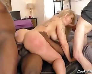 Interracial anal team fuck with ryan conner and a cuckold