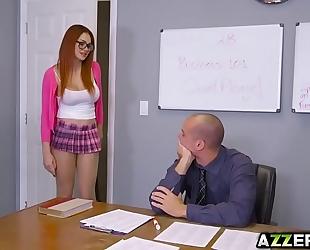 Busty redhead skyla novea tempted her sexy prof