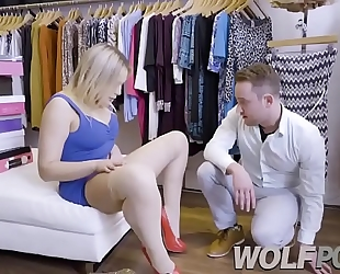 Horny saleswoman blair williams show me her snatch when i consult prices