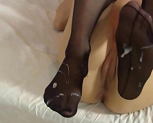 Lelulove nylons footjob with ejaculation