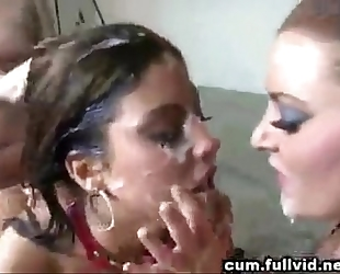 Brunette with taut little body overspread in multiple cumshots by multiple males
