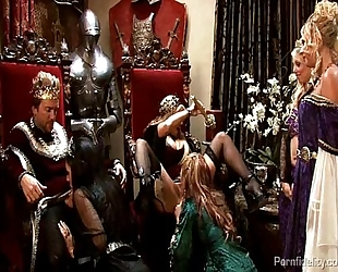 King and queen have a medieval fuckfest with four hawt sluts