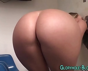 Teen receives gloryhole cum
