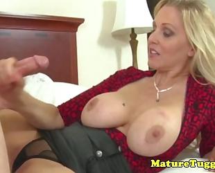 Classy cook jerking milf receives ejaculation on her scones