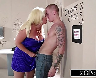 Sneaky italian blond bimbo milf alura jenson sucks jock in the theater