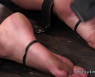 Busty golden-haired in device servitude feet tormented