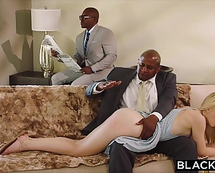 Blacked obedient girlfriend punished by 2 dark males