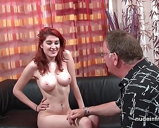 Busty french redhead playgirl unfathomable anal screwed with cum on booty for her casting sofa