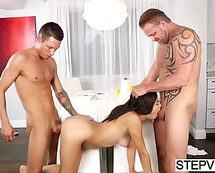 Teen banging with stepbro and stepdad