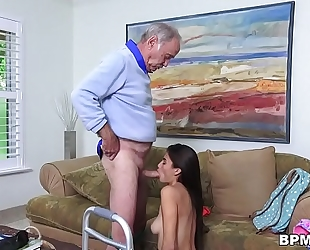 Petite latin babe michelle martinez gives oral sex to granddad