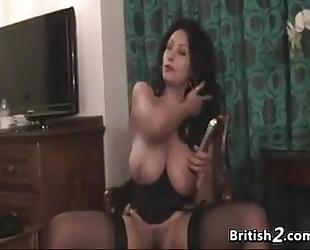 Thick british woman undresses and masturbates