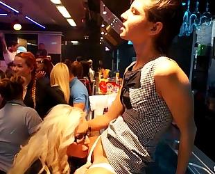 Lesbian clubbers receives screwed in public