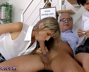 Teens share old mans pecker