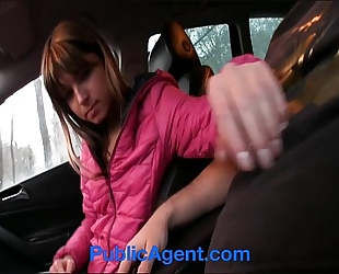 Publicagent tiny nympho jenna drilled in my car