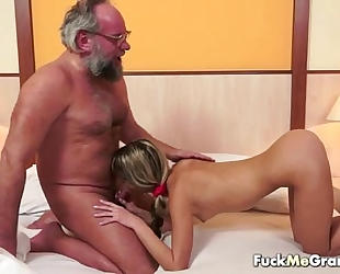 Lucky old bastard bangs ravishing Married slut
