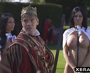 King copulates his breasty lewd servants jasmine and anissa