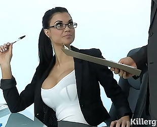 Sexy milf jasmine jae plays the office floozy addicted to hard 10-Pounder