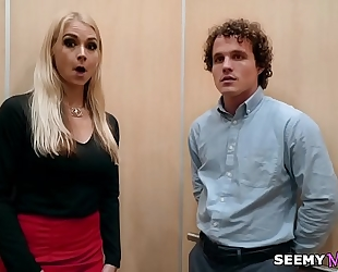 My boss' angry slutwife sarah vandella copulates me in the elevator
