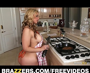 Busty golden-haired slutty wife helps her guy celebrate steak & a blow job day