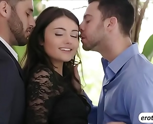 Brunette chick adria rae copulates 2 schlongs in one discharged