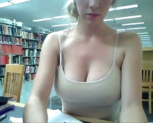 Horny wife gives a web show, in the university library - orgythreesome.blogspot.