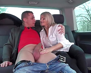 Stepmom receive 3 youthful strangers weenies in avid van ride