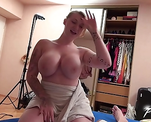 Moster love muffins golden-haired receives cumshots from tired leaking schlong