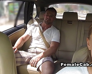 Fat cab driver acquires giant rod in bacseat