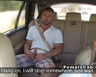 Fat female fake taxi driver copulates customer