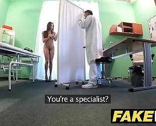 Fake hospital tall dark brown patient with large natural billibongs swallows docs cum