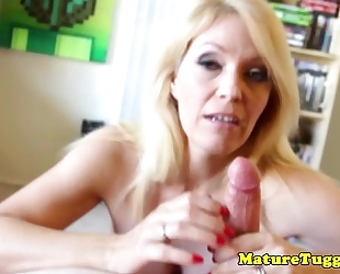 Pov tugging climax with a dirtytalking milf