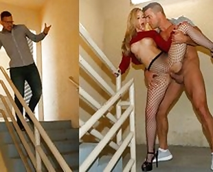 Hot blonde milf in fishnet ripped stockings does blowjob and is fucked in real hardcore sex movie