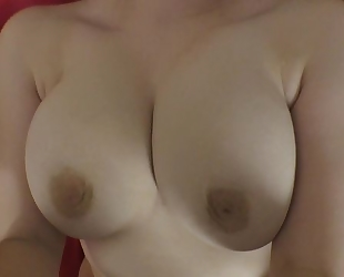 Curvaceous young girl with big juggs plays with Matt's pecker in bed