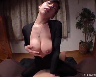 Asian damsel with glasses pleasuring lucky stud in POV