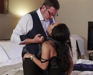 Asian pornstar with juicy melons gets fucked hard in both holes