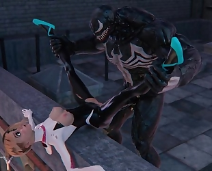 Superheroes Spider-Gwen and Venom fucking on the roof