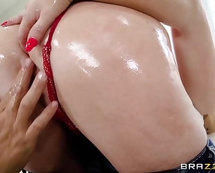 Hungry blonde MILF with fine ass gets oiled up and analized
