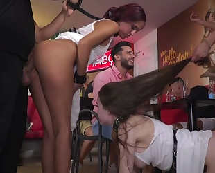 Hardcore group XXX scene with a bunch of wild girls